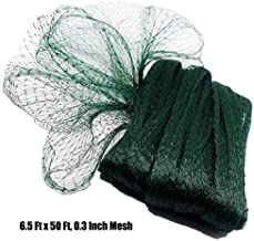 POYEE Bird Netting for Garden-6.5 x 50 Ft, 0.3 Inch Mesh, Nylon Garden Netting Protect Fruit and Vegetables from Birds and Animals, Green