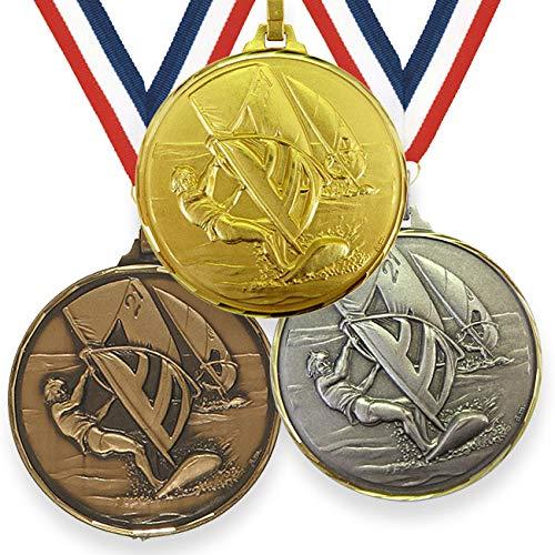 Trophy Monster Medalla de alta definición para windsurf de 52 mm con cinta de latón | oro, plata o bronce