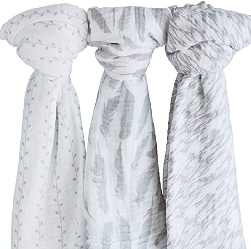 Muslin Swaddle Blanket 100 Soft Muslin Cotton 3 Pack 47 X 47 Classic Grey Combo Unisex For Baby Girl Or Baby Boy