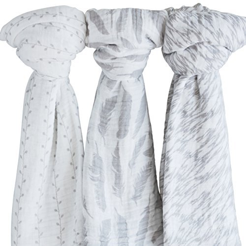 "Muslin Swaddle Blanket 100% Soft Muslin Cotton 3 Pack 47""x 47"" Classic Grey Combo Unisex for Baby Girl or Baby Boy"