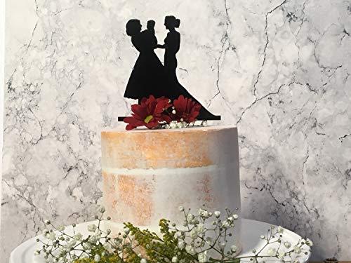 Dezelfde seks familie bruiloft taart topper met baby en 2 bruiden