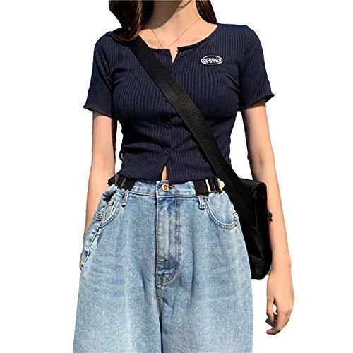 Cárdigan de punto acanalado de manga corta para mujer, ajuste delgado, camiseta corta para niñas y mujeres Streetwear