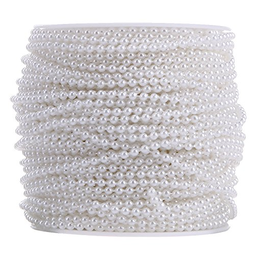 Broadroot 10 Meter 3mm Perlen Baumwolle Linie Kette Perlen Garland Hochzeit (Weiss)