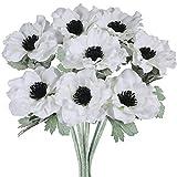 8 Pcs White Poppy Anemone Stems Silk Flowers Artificial Flowers in White Cream with Black Center for Wedding Bouquets Corsages Floral Arrangement Centerpieces Vase Basket Decoration