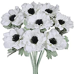 8 Pcs White Poppy Anemone Stems Silk Flowers Artificial Flowers in White Cream with Black Center for Wedding Bouquets Corsages Floral Arrangement Centerpieces Vase Basket Decoration