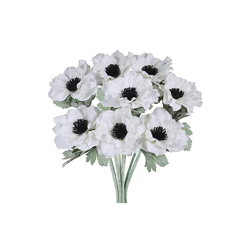 silk flower arrangements 8 pcs white poppy anemone stems silk flowers artificial flowers in white cream with black center for wedding bouquets corsages floral arrangement centerpieces vase basket decoration