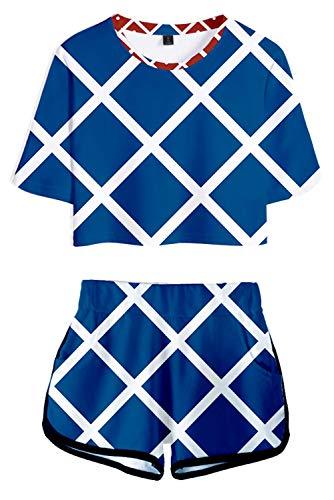 JoJo's Bizarre Adventure Disfraz para mujer Guido Mista Bruno Bucciarati Trish UNA Impresión de ombligo pantalones cortos Azul azul S