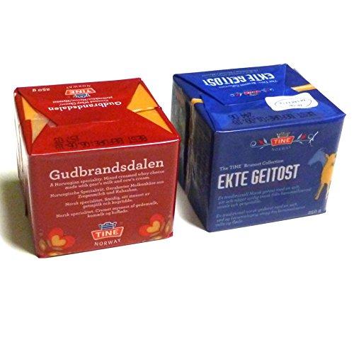 Gudbrandsdalen und Ekte Geitost 2x250g Brunost Norwegen Duo KÜHLBOX-Versand mit Styroporbox und Spezialkühlakku für Lebensmittelversand