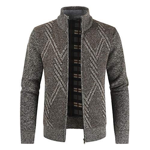 Otoño Invierno Suéter para Hombre Casual Stand Collar Grueso Cárdigan Hombres Moda Cálido Suéter Abrigos...