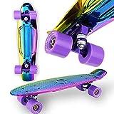 WeLLIFE Monopatín Mini Cruiser RGX holográfico cromado multicolor Skate 22' 56 cm para niños adolescentes adultos ruedas luminosas PU 78A con rodamientos ABEC-7RS