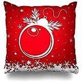 Heekie Funda de cojín Throw Pillow Cover Christmas Red Ball Holidays Bubble Celebration Circle Culture Elegance Design Simple Decorative Pillow Case Decor Square Size 18x18 Inches Home Pillowcase
