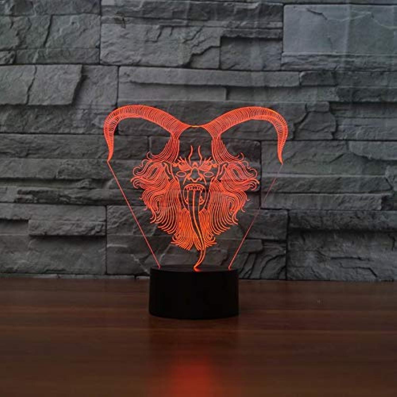 Mozhate 7 Farben atmosphre led 3D Tier Schafe Horn Form led tischlampe Urlaub dekor Geschenke licht Schlafzimmer nachtlicht leuchte,Remote und berühren