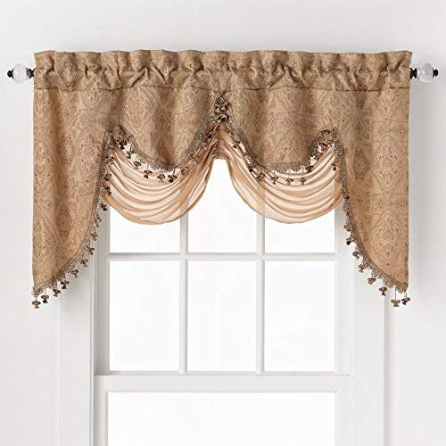 GoodGram Ultra Elegant Clipped Jacquard Georgette Fringed Window Valance with an Attached Sheer Swag Assorted Colors (Gold)