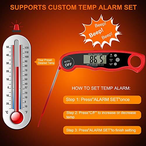 HOSPAOP - Termómetro de cocina digital con 2 sondas de acero inoxidable y cable largo, ajuste de temperatura para barbacoa y barbacoa