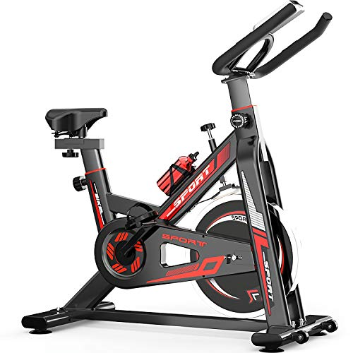 QQLK Bicicleta EstáTica Indoor - Bicicleta De Spinning - Ejercicio Bicicleta, Freno Silencioso, Ajuste De Velocidad Continuo, Asiento Ajustable, Carga 150 Kg