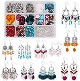 Set per la fabbricazione di orecchini, kit per il fai da te, con conchiglia bohémien, con connettori, kit di perline, ideale come regalo per donne