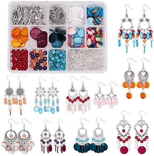 Queta Kit di bigiotteria per orecchini, scatola per la fabbricazione di gioielli, kit fai da te, fabbricazione di orecchini a forma di conchiglia, con connettori, kit di perline, regalo per donne
