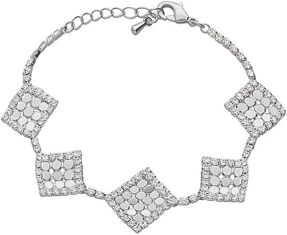 Stroili , bracciale per donna, con strass e dettagli rombo in metallo rodiato color argento 1666131