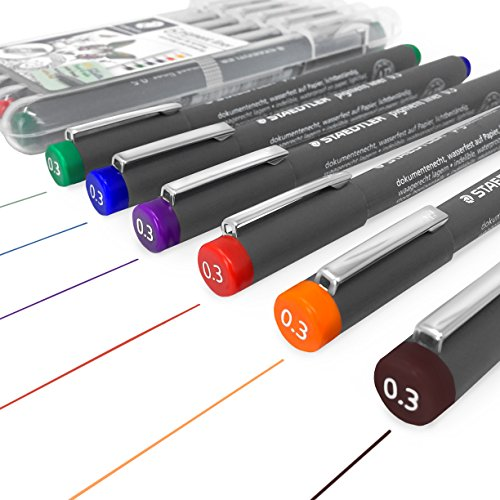 Staedtler 308 Pigment Liner Fineliner � 0.3mm - Wallet of 6 Assorted Colours