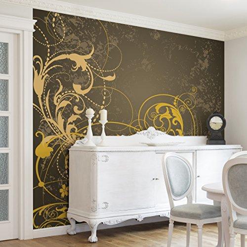Apalis Vliestapete Schnörkel in Gold Fototapete Quadrat | Vlies Tapete Wandtapete Wandbild Foto 3D Fototapete für Schlafzimmer Wohnzimmer Küche | Größe: 192x192 cm, mehrfarbig, 97984
