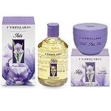 Erbolario Confezione Regalo Iris Corpo - Bagnoschiuma 500 ml + Crema Corpo 300 ml + in OMAGGIO 1 beauty sachet in raso per il tuo make-up set