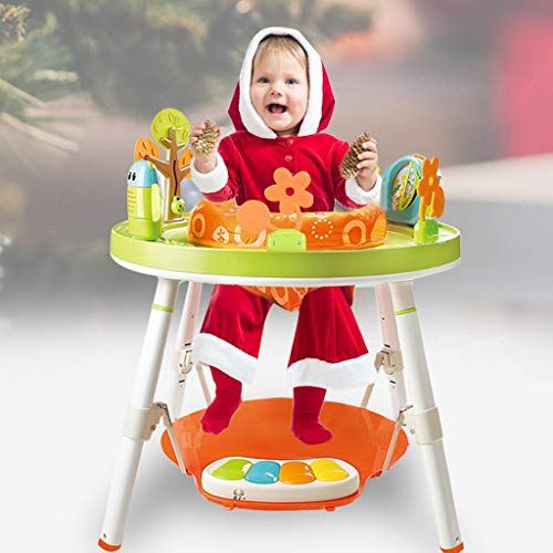 MOMFEI 3-in-1 Jump Gym for Baby - 360-degree Rotating Seat 3-Stage Interactive Activity Center W/ 5 Fun Toys & Music, Washable Seat Cushion Great for 4,6,9,12,24,36 Months Toddler
