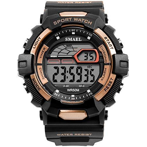 JTTM Relojes Outdoor Deportivos para Hombre, Resistente Al Agua Digital Multifuncional Alarma Esfera Grande Militares Reloj para Hombre,Rose Gold