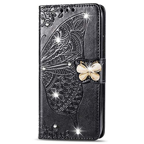 Hülle für Galaxy S10+ (S10 Plus) Hülle Leder,[Kartenfach & Standfunktion] Flip Case Lederhülle Schutzhülle für Samsung Galaxy S10+ /G975F - EYSD040482 Schwarz