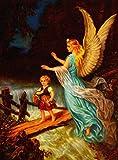 Wall Art Print entitled Heiliger Schutzengel - Guardian Angel 11 Oil by Celestial Images   11 x 15