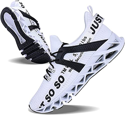 JSLEAP Weiß Laufschuhe Herren Laufschuhe Fitness straßenlaufschuhe Sneaker Sportschuhe atmungsaktiv rutschfeste Mode Freizeitschuhe (2 Weiß,Größe 44 EU/270 CN)