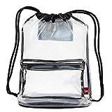 Mochila transparente con cordón para gimnasio, bolsa de cincha transparente, aprobado por estadio, unisex, Transparente, Talla única, Viajar