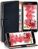 moex Premium Handytasche kompatibel mit Samsung Galaxy A3 (2016) - Klapphülle mit Kartenfach und Ständer, magnetische Handy Tasche - Flip Case Schutzhülle, Schwarz