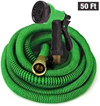 GrowGreen Hoses, Expandable Garden Hose, Water Hose with High Pressure Hose Spray Nozzle, Flexible Garden Hose with All Brass Connectors, Leak Proof,and Durable Expanding Garden Hose, (50 Feet)