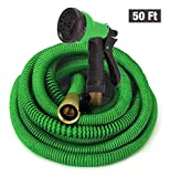 10. GrowGreen Garden Hose, Expandable Garden Hoses, Water Hose with High Pressure Hose Spray Nozzle, Flexible Garden Hose with All Brass Connectors, Leak Proof, Durable, Heavy Duty Material (50 Feet)