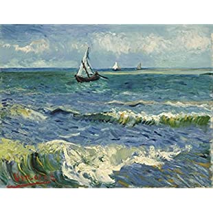Wieco Art - Seascape at Saintes Maries by Vincent Van Gogh Oil Paintings Reproduction Classical Giclee Canvas Prints Artwork Ocean Pictures Paintings on Canvas Wall Art for Bedroom Home Decorations:Cryptools