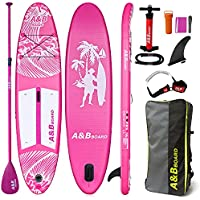 A&BBOARD Pink SUP 10'6''x32''x6'' Stand Up Paddle Board Standing Boat for Adult