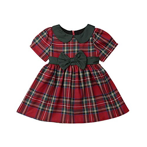 Kuriozud Toddler Baby Girl Plaid Dress Short Sleeve Bowknot Party Dress (Palid Dress with Green Bow, 6-12 Months)