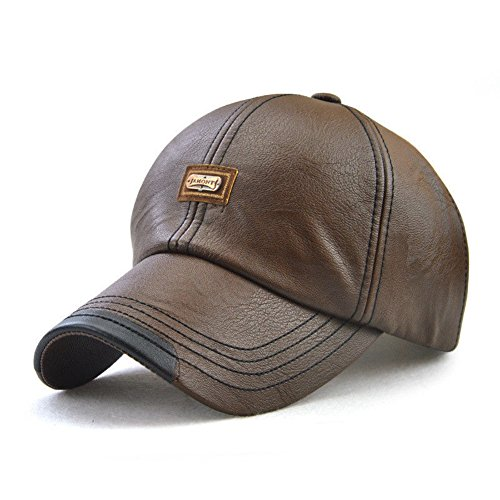 Men's Classic Leather Baseball Cap Winter Warm Vintage Outdoor Sports Hats Adjustable Driving Sun Hat (Light Coffee)