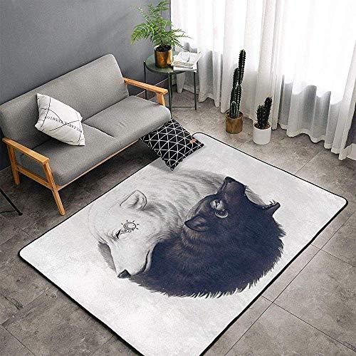 URIAS area rugs Indoor Soft Floor Teppiche Flauschige Teppiche Yin Yang Wolf Geeignet für Schlafzimmer, Büro, Couchtisch, Balkon Home Decor Teppiche