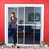 Doppel Schiebetür PREMIUM Alu Bausatz - Fliegengitter für Tür - Insektenschutz 240x240 cm weiß