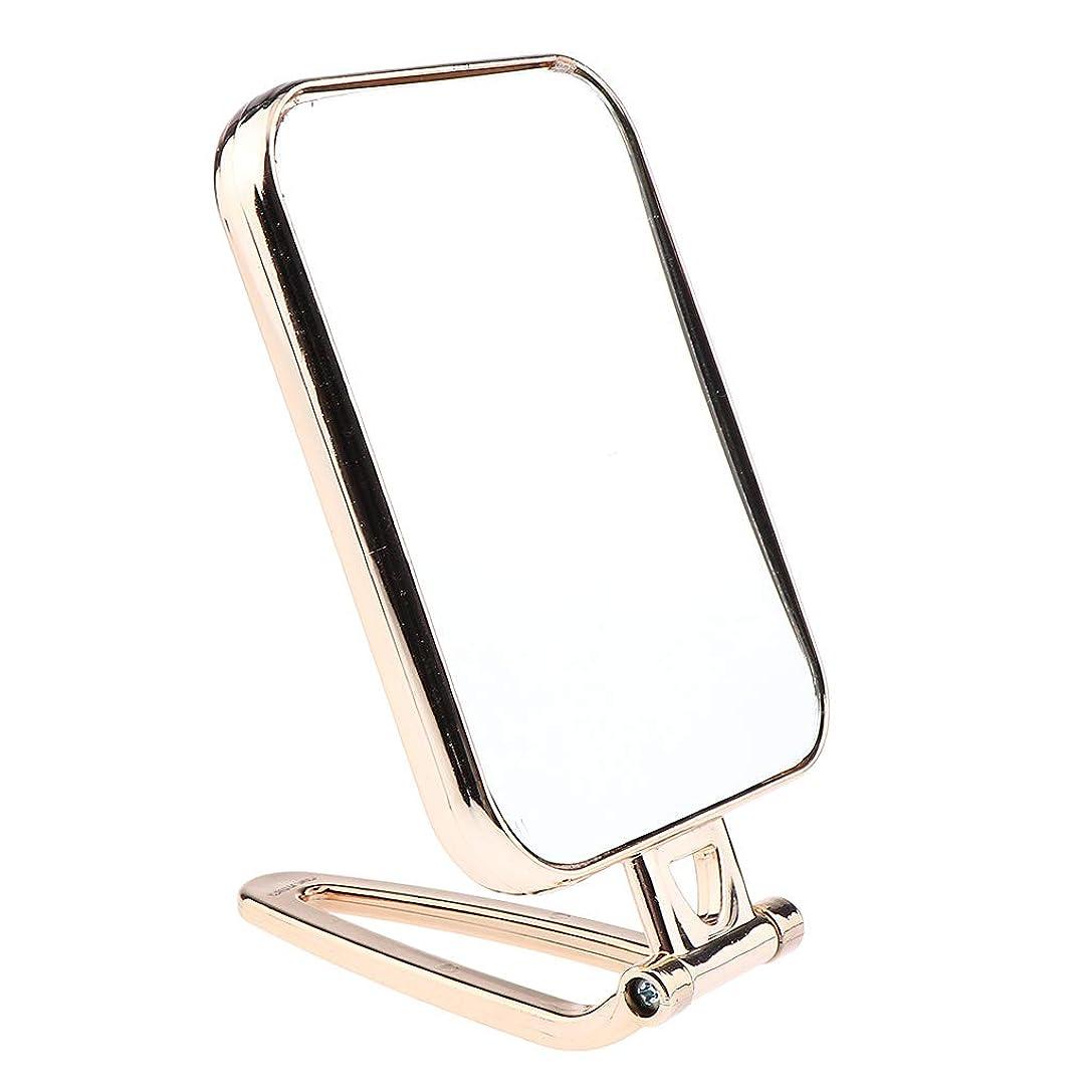 隣接する日常的に騒乱F Fityle メイクアップミラー 折りたたみ ポータブル 洗面台 卓上 旅行 コンパクトミラー 2タイプ選べ - ゴールド