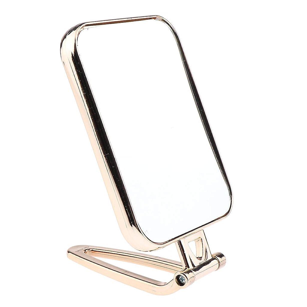 今まで不公平提供されたF Fityle メイクアップミラー 折りたたみ ポータブル 洗面台 卓上 旅行 コンパクトミラー 2タイプ選べ - ゴールド
