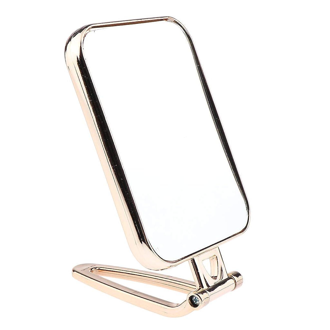 恥ずかしさ愛人素晴らしきF Fityle メイクアップミラー 折りたたみ ポータブル 洗面台 卓上 旅行 コンパクトミラー 2タイプ選べ - ゴールド