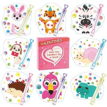 Valentines Day Cards for Kids - 36 Mini Bubble Wands + 36 Valentines Cards for Kids 8 Animal Designs Valentine Day Gifts Cards Kids Valentines Cards for School Classroom Valentines Day Decorations