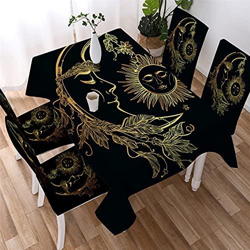 XXDD Mantel de Mandala Dorado Simple Estrella Luna Mantel Impermeable decoración Mantel de Restaurante Cubierta de Mesa A3 140x200cm