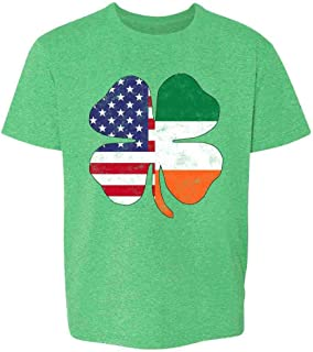 Irish American Flag Shamrock St. Patrick's Day Youth Kids Girl Boy T-Shirt