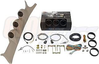GlowShift Diesel Gauge Package for 1999-2007 Ford Super Duty F-250 F-350 6.0L 7.3L Power Stroke - Tinted 7 Color 60 PSI Boost, 1500 F Pyrometer EGT & Transmission Temp Gauges - Tan Triple Pillar Pod