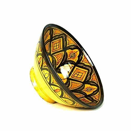 Orientalische marokkanische Keramikschale Keramik Obst Salat Reis Schale Schüssel Deko XXL Color Gelb