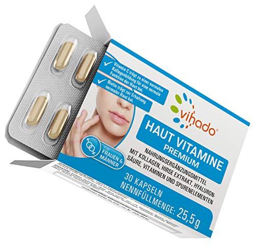 Vihado Haut Vitamine von innen, Premium Kapseln für Frauen und Männer mit Kollagen, Hyaluron, Hirse, Biotin, Zink, 30 Kapseln