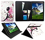 Archos 101 Platinum 3G Tablet / Diamond Tab ( 2017 ) 10.1 zoll Floral Butterfly Girl Universal Wallet Hülle Cover Folio ( 10 - 11 zoll ) von Sweet Tech